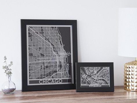 Cut Maps Stainless Steel City Map
