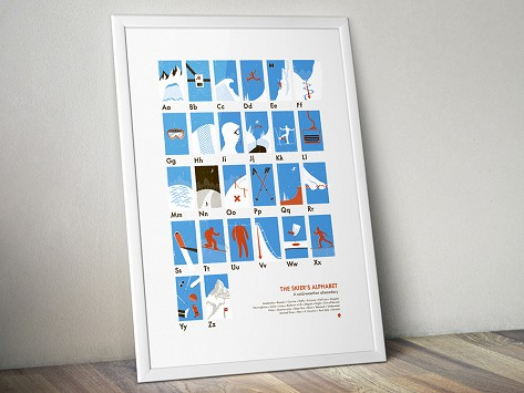 The Skiers Alphabet Poster