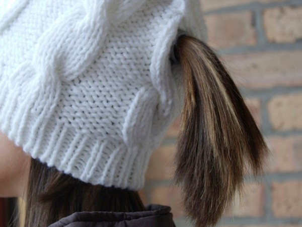 Peekaboos Ponytail Hats Cable Knit Hats  95ccdc682d3
