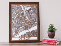 Cut Maps: Custom Framed Wooden Map