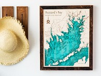 "Lake Art: 16"" x 20"" Custom 3D Wood Map"