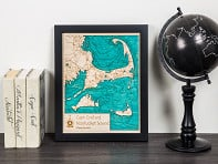 "Lake Art: 11"" x 14"" Single-Layer Laser Cut Wood Map"