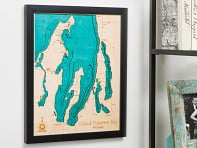"Lake Art: 14"" x 18"" Custom 3D Wood Map"
