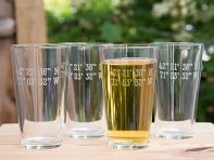 Sand Etched Latitude and Longtitude Pint Glass