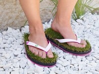 Grass Flip Flops: Synthetic Grass Sandals - White