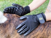 HandsOn Gloves: Grooved Pet Grooming Gloves