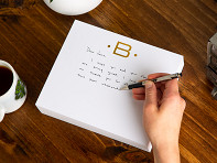 Black Ink: Gold Initialed Notepad Stationery