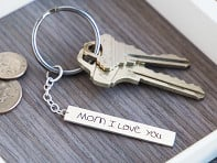 Etched: Custom Script Bar Keychain