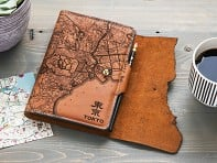 Tactile Craftworks: Etched Leather Map Journal - International Cities