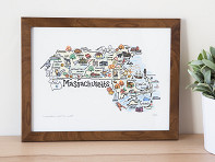 Fish Kiss: State Map Print