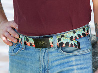 Wingo Belts: Fish Skin Print Webbed Belt