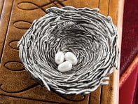 Pewter Bird's Nest Ornament & Dish