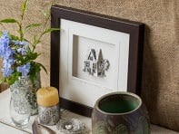 Wood Finish Framed Pewter Artwork