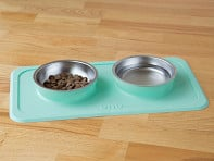 Double Non-Slip Pet Bowl & Mat Set