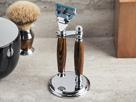 Handcrafted Wooden Razor Handle & Stand