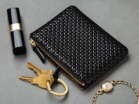 Lacquer-Embossed Leather Key Case