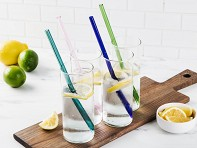 Set of 4 Glass Straws - Straight