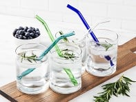 Set of 4 Glass Straws - Bent