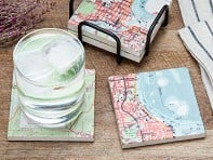 Custom Map Coasters with Stand