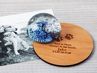 TZ Glass by Tari Zarka: Pet Memorial Glass Paperweight with Custom Trivet