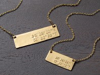 Hand Stamped Coordinates Bar Necklace