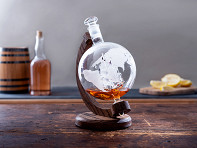 Prestige Decanters: Hand-Blown Glass Decanter & Wood Base