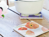 India & Purry by Jessica Hollander: Floral Marble Trivet