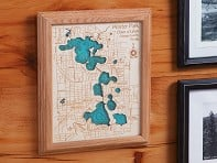 "Lake Art: 8"" x 10"" Single-Layer Laser Cut Wood Map"