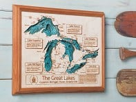 "Lake Art: 24"" by 30"" Custom 3D Wood Map"