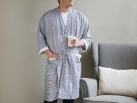 Kara Weaves: Bathrobe - Black & White Pinstripes