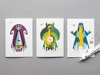 Monsters Flashing Card Set