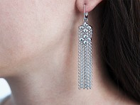 Mesh Fringe Chandelier Earrings
