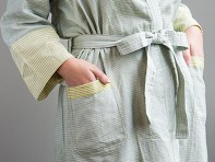 Kara Weaves: Bathrobe - Khaki, Aqua & Lemon