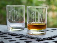 Susquehanna Glass Company: Hand Cut Monogram Rocks Glass - Set of 2