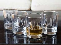 Hand Cut Monogram Rocks Glass - Set of 4