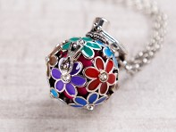 Yourself Expression: Painted Flowers Angel Locket