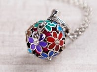 Painted Flowers Angel Locket