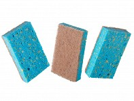 Pura Naturals: 6 Pack Household Sponges with Scrubber - Soap Infused