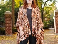 Rising Tide: Chunky Knit Ruana - Brown
