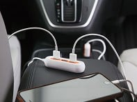 RapidX: X5 Car Charger with 5 USB Ports - Orange/White