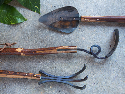 "Fisher Blacksmithing: Hickory 21"" Garden Tool Set"