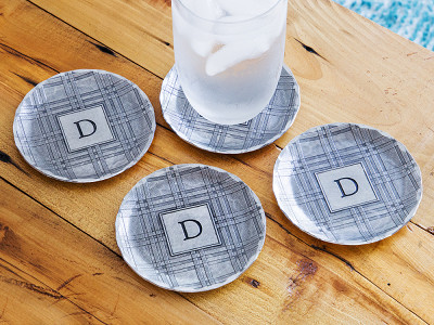 Wendell August: Highland Plaid Engraved Coaster Set