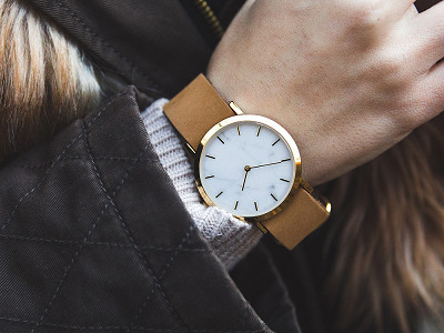 Analog Watch Co.: White Marble Classic Watch