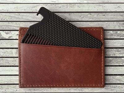 Go-Comb: Matte Fine Tooth Wallet Comb with Bottle Opener