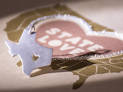 Precious Metal Prints: State Love Pendant Necklace
