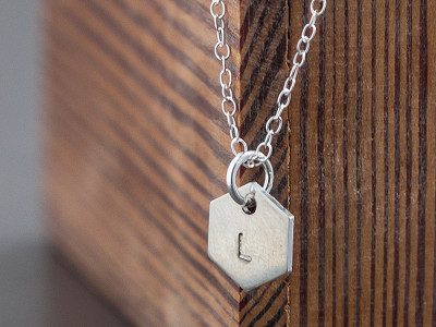 Alloy Jewelry: Hexagon Initial Necklace
