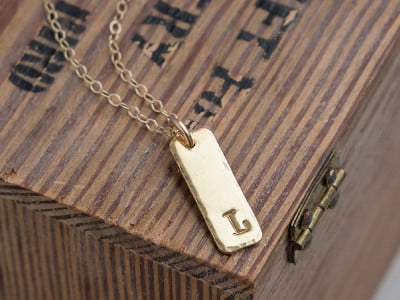 Alloy Jewelry: Rectangle Initial Necklace
