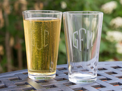 Susquehanna Glass Company: Hand Cut Monogram Pint Glass - Set of 2