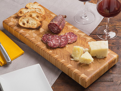 Larch Wood: End Grain Double Cheese Board