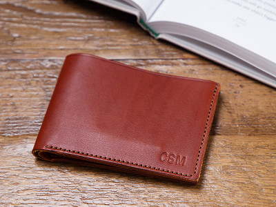 Todder: Monogrammed Leather Bi-Fold Wallet